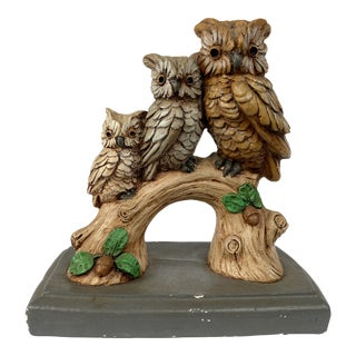 Vintage Rustic Cabin Owls Figurine For Sale