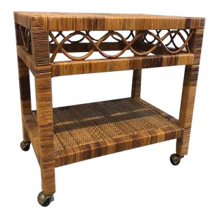 1970s Boho Chic Tropical Chic Split Rattan Bar Cart For Sale