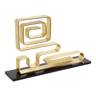 "Dan Murphy Modernist Brass Sculpture, ""Confusion,"" 1976 For Sale"