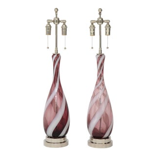 Amethyst Murano Glass Candy Striped Lamps - a Pair For Sale