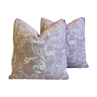 "Designer Lisa Fine Pandora Linen Feather/Down Pillows 21"" Square - Pair"