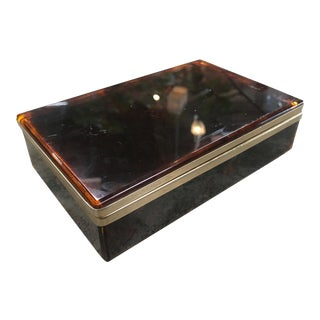 1940s Vintage Italian Faux Tortoiseshell Box For Sale