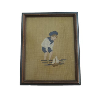 Vintage Framed Cross Stitched Nautical Sailor Boy and Sailboat Wall Art For Sale
