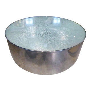Steve Chase Circular Polished Steel and Crackled Glass Coffee Table C. 1970s For Sale