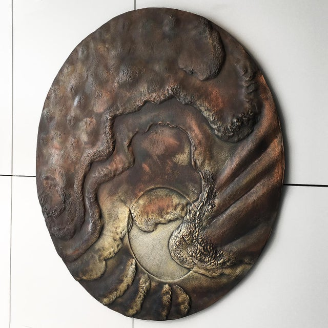 Gold Set of Two Brutalist Mixed Metal Wall Sculptures Signed Wendell For Sale - Image 8 of 13