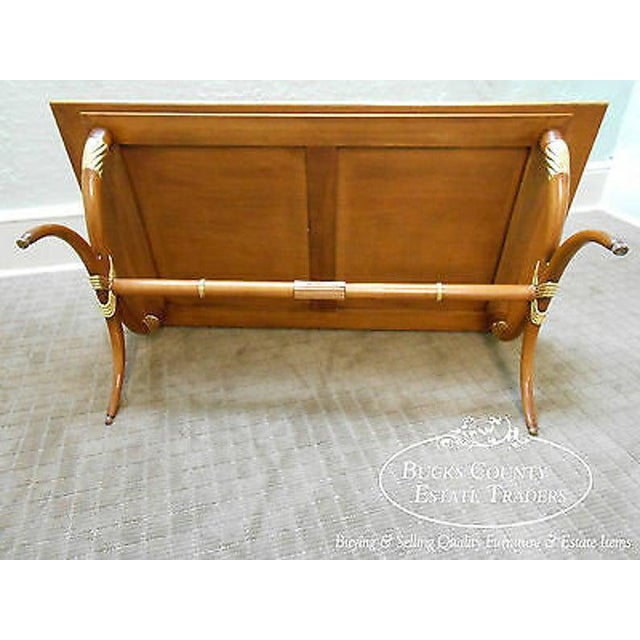 High Quality French Regency Directoire X Base Coffee Table W/ Gilt Accents For Sale - Image 9 of 11