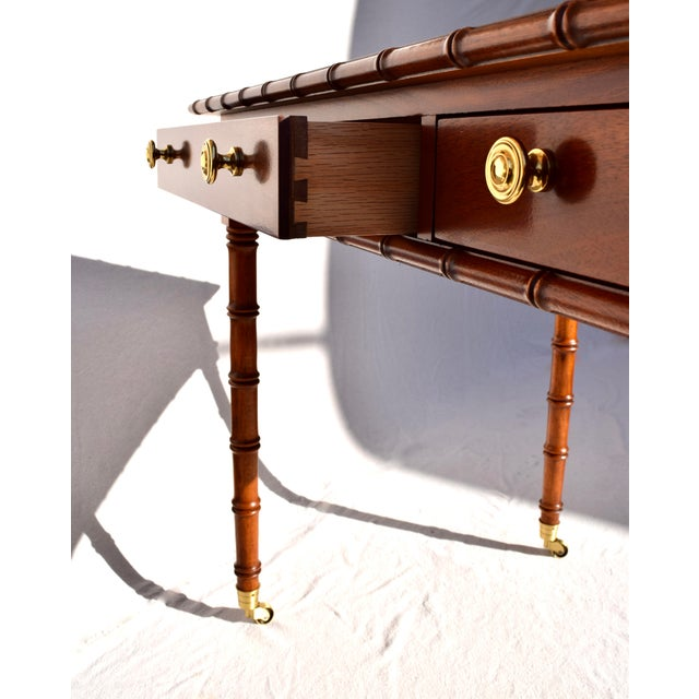 Chestnut Regency Faux Bamboo Writing Desk For Sale - Image 8 of 11