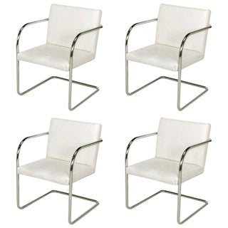 Four Thonet White and Chrome Cantilever Dining Chairs For Sale