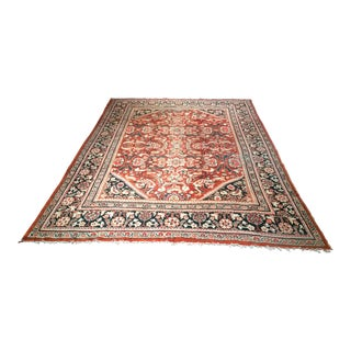 Persian Mahal Sultanabad Red and Auburn Wool Rug - 9′ × 12′5″ For Sale