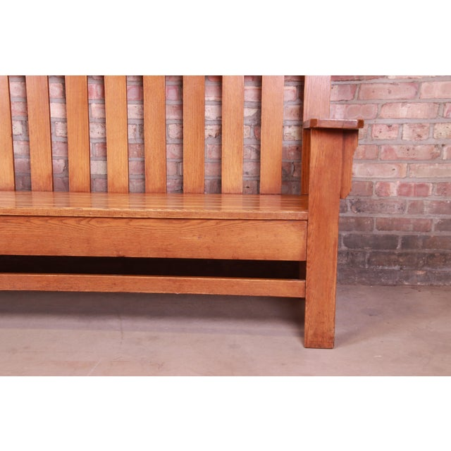 Antique Stickley Style Arts & Crafts Solid Oak Settle or Bench For Sale - Image 9 of 13