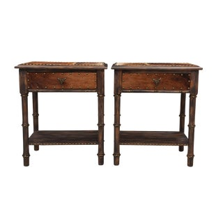 1980s Southwestern Mission Avenue Studio Cowhide Wrapped Wooden Side Tables - a Pair For Sale
