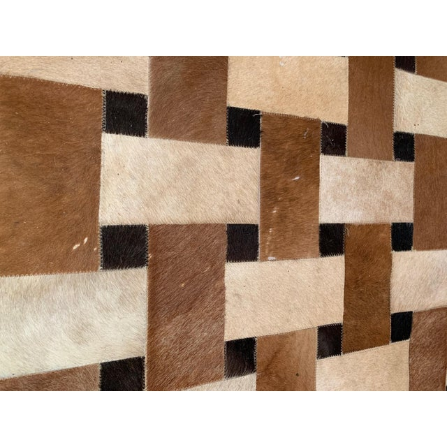 Geometric Patchwork Cowhide Area Rug For Sale - Image 9 of 13