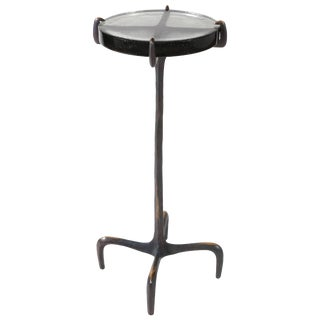 Hand-Cast Bronze Claw Sleek Glass Drinks Table from Antu-Made