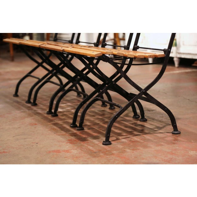 Painted Wrought Iron and Teak Wood Folding Garden Chairs, Set of Four For Sale - Image 4 of 13