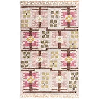 Scandinavian Geometric Flat Weave Rug by Ulla Brandt - 5′5″ × 8′3″ For Sale