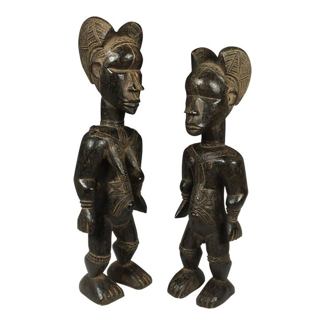 Ivory Coast African Dan Statues - A Par - Image 1 of 11