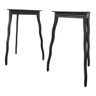 Postmodern Will Stone Handmade Steel Side Tables - a Pair For Sale