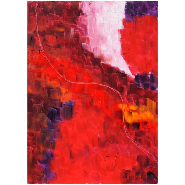 "Abstract Oil Painting on Canvas Title ""Fil Rouge"", 2009 For Sale - Image 3 of 3"