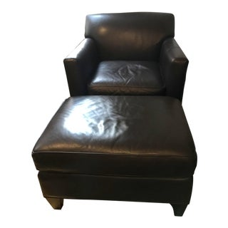 Crate & Barrel Leather Chair & Ottoman - A Pair