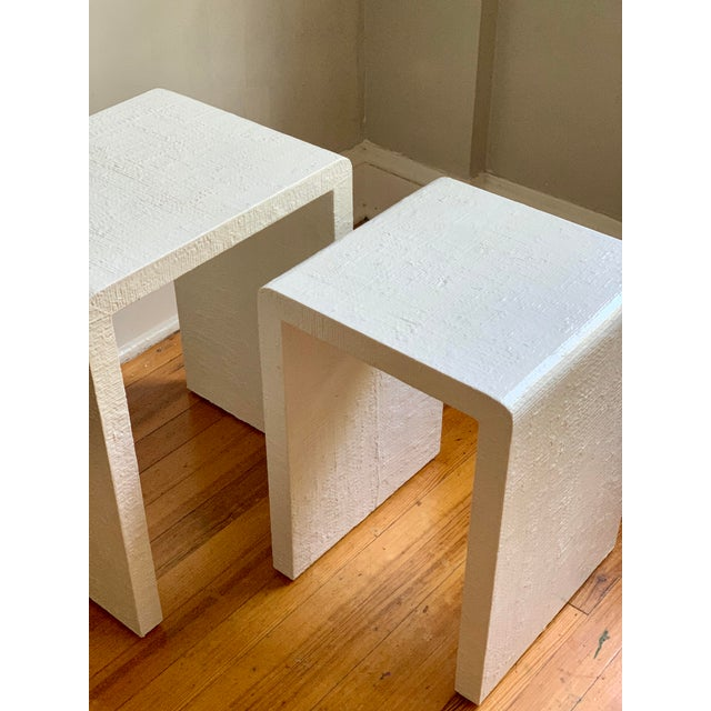 Wood Grasscloth Raffia Nesting Tables - 2 Pieces For Sale - Image 7 of 12