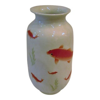 Contemporary White Ceramic Vase With Hand Painted Koi Fish