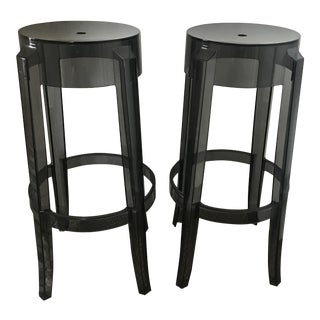 Modern Kartell Charles Ghost Bar Stools- A Pair For Sale