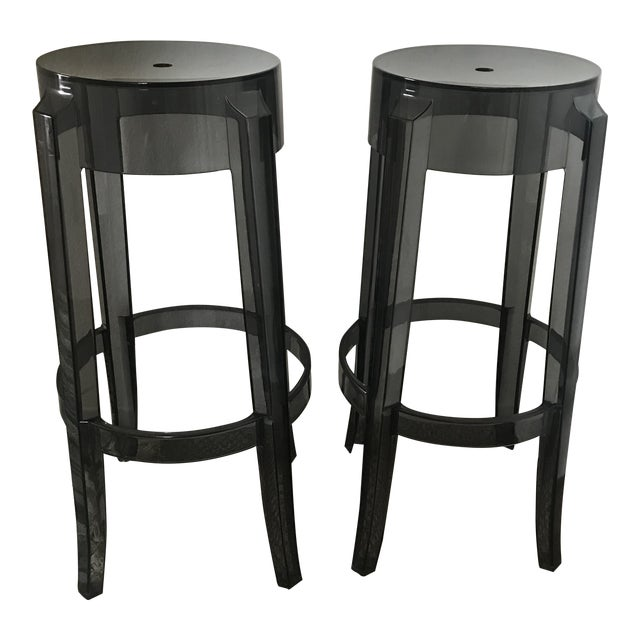 Image of Modern Kartell Charles Ghost Bar Stools- A Pair