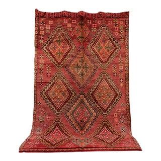 "Boujad Vintage Moroccan Rug, 6'9"" X 11'0"" Feet For Sale"