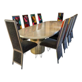 Custom Gray Lacquer Dining Set For Sale