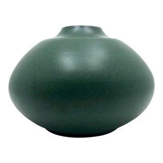 Hand-Thrown Porcelain Green Glazed Vase, Signed For Sale