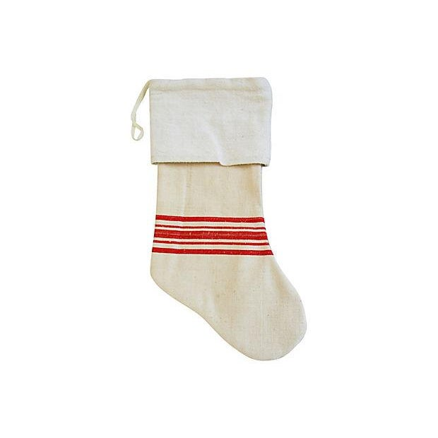 French Grain Sack Christmas Stockings - Pair - Image 3 of 6