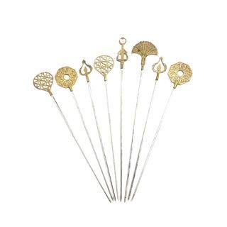 1960s Vintage Turkish Brass Hand Made Skewers - Set of 8 For Sale