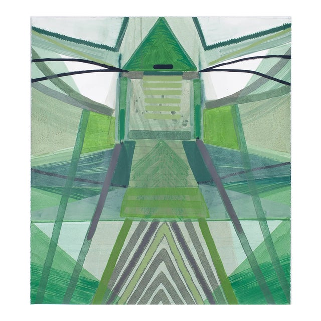 "Ky Anderson ""Nature Series"" Abstract Green Colorful Painting on Paper For Sale"