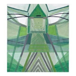 """Ky Anderson """"Nature Series"""" Green Abstract Colorful Painting on Paper For Sale"""