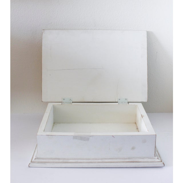 Boho Chic Vintage White Wooden Box With Bow Detaililng For Sale - Image 3 of 5