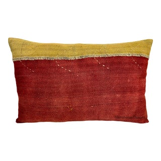 Vintage Flat Weave Accent Lumbar Pillow For Sale