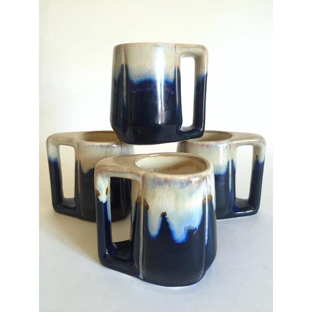 Vintage Mid Century Organic Modern Indigo Blue Drip Glaze Ceramic Handled Mugs - Set of 4 For Sale - Image 11 of 13