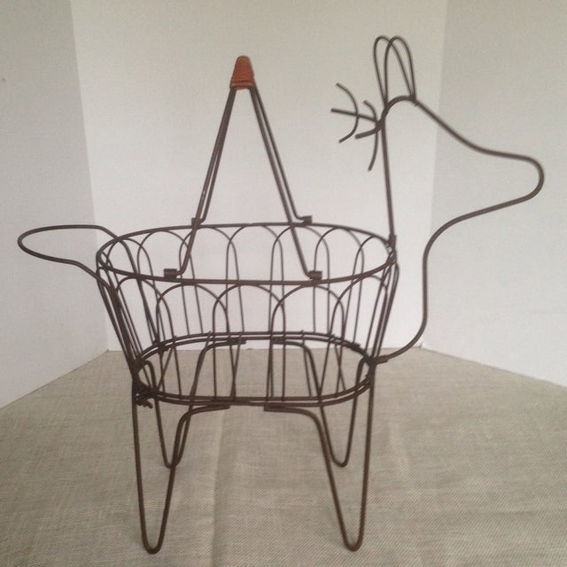 Large Vintage Metal Deer Planter/Basket For Sale - Image 11 of 11