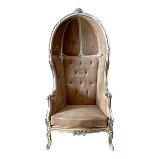French Champagne Velvet Throne Balloon Chair For Sale