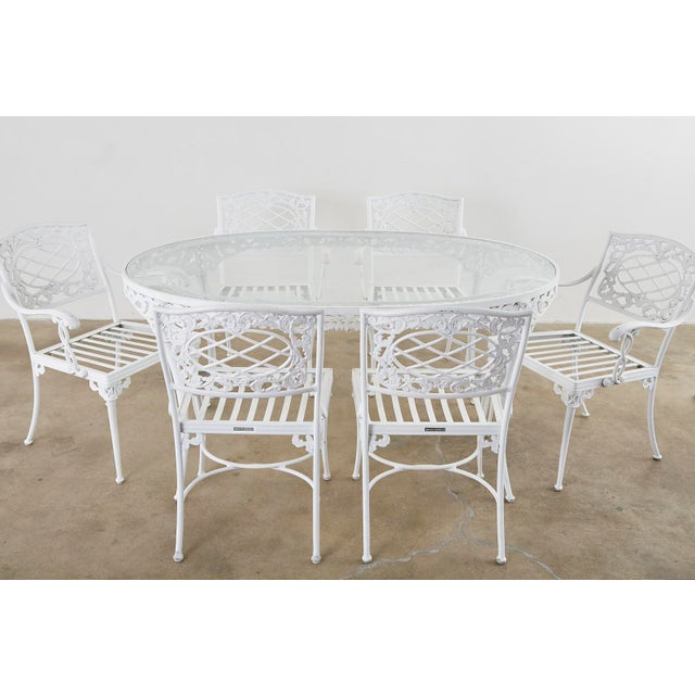 White Brown Jordan Neoclassical Style Aluminum Garden Dining Set For Sale - Image 8 of 13