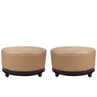 Pair of Mid-Century Modern Leather and Mahogany Ottomans