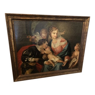 Large Original Oil on Canvas of Madonna and Child With Patrons For Sale