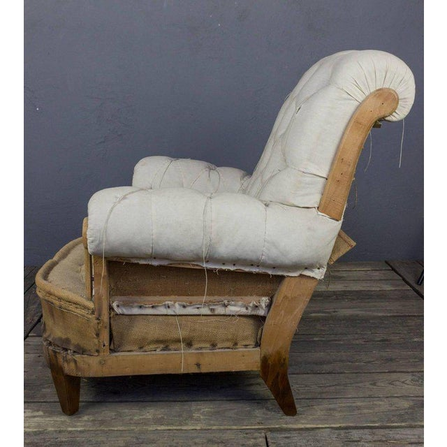 Napoleon III Large Tufted Armchair & Ottoman For Sale - Image 3 of 9