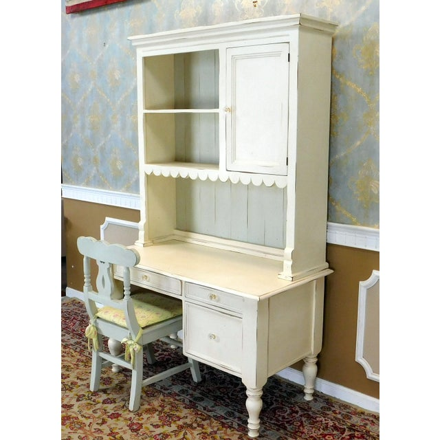 Description: This is a very nice hand crafted and painted white Sweat Pea desk with scalloped hutch and matching chair...