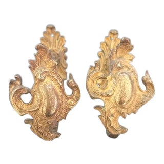 French Antique 19th Century Gilded Bronze Curtain Tie Backs - a Pair For Sale