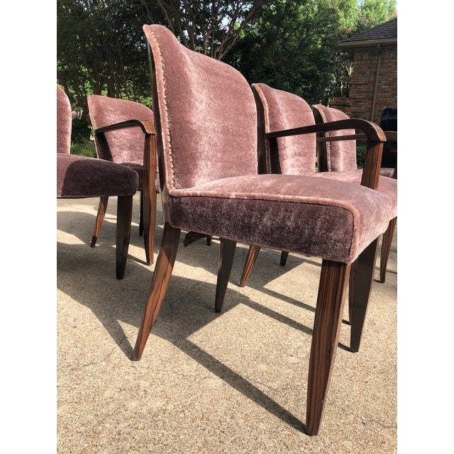 Lavender 1930s Vintage Macassar and Mohair Dining Chairs - Set of 6 For Sale - Image 8 of 11