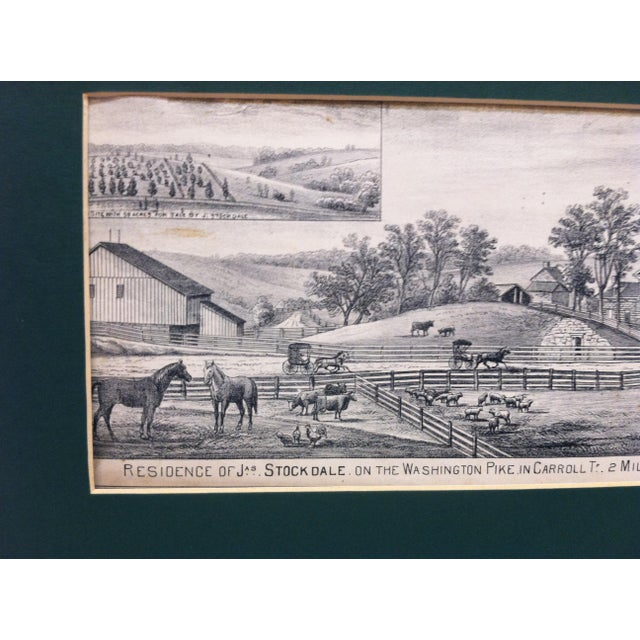 "American Vintage Matted Print, ""Residence of Jas. Stockdale"" For Sale - Image 3 of 6"