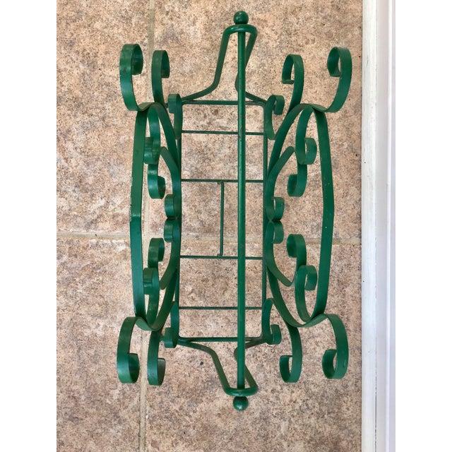 Mid-Century Modern Mid-Century Modern Green Wrought Iron Magazine Rack For Sale - Image 3 of 10
