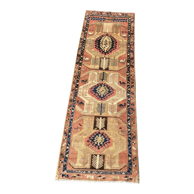 1950s Vintage Persian Sarab Runner Rug - 3′1″ × 10′2″ For Sale
