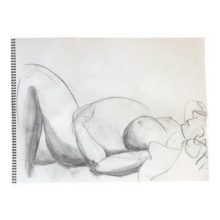 Reclining Pregnant Nude Drawing For Sale